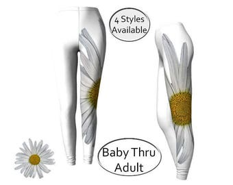 Floral Printed Leggings, Long or Capris, XS S M L XL, Botanical Floral, Yoga Sportswear, Girls Baby Women, Workout Leggins Tights, Spandex