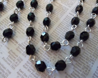 Beaded Chain - Bead Chain - Rosary Chain - 4mm Black Beaded Chain - Silver Bead Chain - Jewelry Supplies - Glass Fire Polished Bead Chain