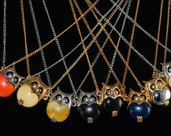 Owl Necklace Vintage Small Owl Pendant 1960s Wise Owl