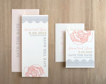 "Lace Save the Dates, Blush Save the Date Cards, Gray, Gold and Blush Peach, Vintage Inspired Wedding - ""Ruffled Romance"" Save the Dates"
