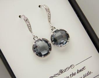 Gray Earrings, Silver Gray Bridesmaid Earrings, Grey, Charcoal Bridesmaid Jewelry, Wedding Cubic Zirconia, Wedding Jewelry, Bridesmaid Gifts
