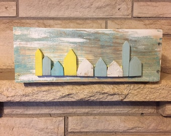 Rustic planter box, recycled wood, ecofriendly rustic decor, tiny painted wooden houses