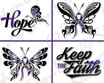 Lupus SVG, Sarcoidosis, Fibromyalgia Svg, Pancreatic Cancer, Alzheimers, Epilepsy Svg, Chiari, Crohns, Colitis, Purple, Cancer Svg