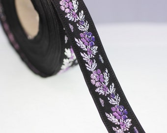 26 mm Black Front Purple Floral Jacquard ribbon (1.02 inches) - Jacquard trim - Balkans Decorative Ribbon - Sewing Trim - Collar Trim