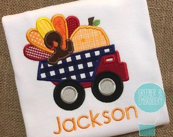 Thanksgiving Dump Truck Shirt / Boy Thanksgiving Shirt / Thanksgiving Applique / Dump Truck Shirt / Pumpkin Shirt / Boy Thanksgiving Shirt