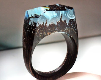 Wind blowing - Wood ring. Secret world inside wooden ring.  Wood resin ring. Statement ring for women and men. In stock 5.0 size.