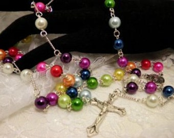 Colorful Glass Pearled Rosary Beads