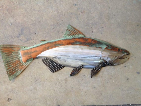 Salmon Metal Fish Wall Art Sculpture 30in Handmade Long Lodge Cottage Cabin Lake River