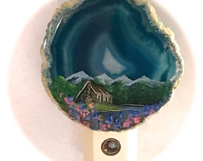 Agate Night Lights  Sensor w 7 watt bulb Hand Painted Oils  Mountain  Summer Log Cabin