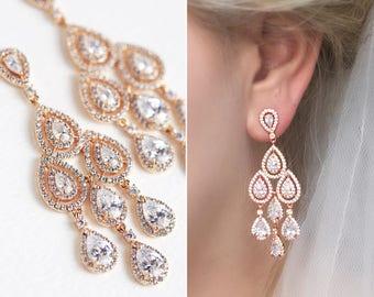 Rose Gold Earrings Wedding Jewelry Long Drop Earring Rose Gold Bridal Jewelry Teardrop Earrings Wedding Earrings Chandelier Earrings E147-RG
