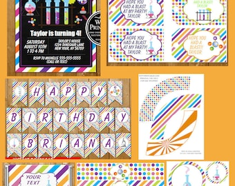 Science Invitation Decorations Party Printables Instant Download Science Party Package Digital Download Birthday Party Pack