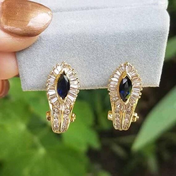 Stunning vintage estate 14k gold marquise cut blue sapphire and channel set baguette diamond halo pierced earrings, pierced Omega ear clips