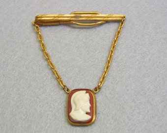 1950s Roman Soldier Cameo Tie Clip and Tie Keeper