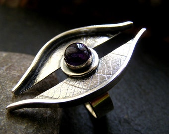 Silver Amethyst Leaf Ring, Sterling silver textured  amethyst nature ring
