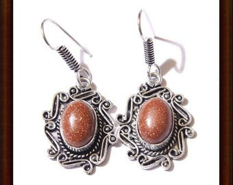 Earrings dangle Sunstone and Sterling Silver 925 - 45mm craft