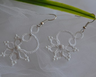Tatted Lace Earrings with White Beads in White or Peach colour - Melody