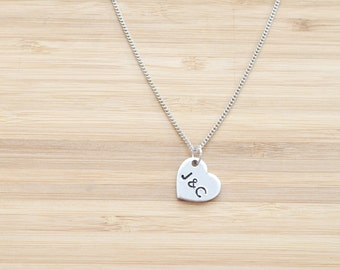 hand stamped necklace   small heart