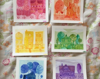 Watercolor Paintings, Houses, Original Art, Rainbow