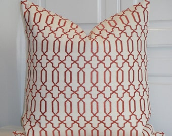 Decorative Pillow Cover - Fretwork Embroidery - Clay and Ivory - Sofa Pillow - Trellis Pillow - Lattice - Geometric
