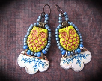 TIn Earrings. Beaded Bohemian Dangle Earrings. Repurposed Tin. Woodland Owl Earrings