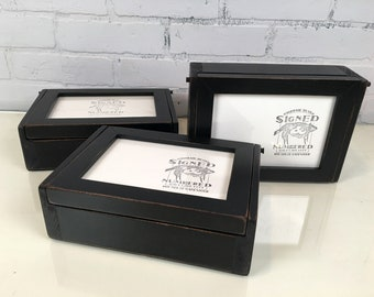 Wooden Keepsake Box with 5x7 Picture Frame Lid with Vintage Black Finish - Handmade Wooden Box Picture Frame - IN STOCK - Same Day Shipping