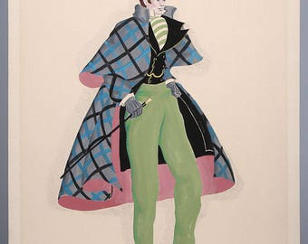 Gentleman Costume Fashion Illustration Original American Painting Hand Signed Artist Great Dandy Outfitting Classic Historical Artwork