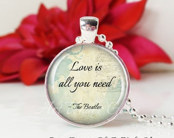 Round Medium Glass Bubble Pendant Necklace- Love Is All You Need- The Beatles Song Lyrics