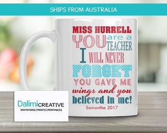 Teachers Mug - Custom Teacher Mug - Teacher Appreciation Gift - End of Year Teachers Gift - Personalised Teachers Gift - Never Forget!