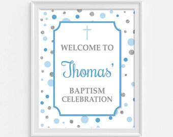 Baptism Welcome Sign, Personalized Baptism Celebration Sign, Blue & Silver Dots, DIY PRINTABLE