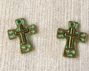 Crosses Tiny Gold with Turquoise GREEN Patina Perfect for Earrings