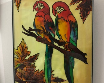 Together in autumn - (Glass painting framed over original glass)