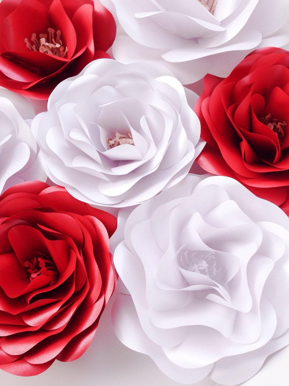 Elegant red white paper flowers wedding decoration wedding zoom mightylinksfo Gallery