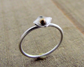 Poppy Ring .925 Sterling Silver, 14kt gold