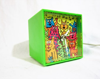 "Seth Thomas ""MiniCube"" Neon Green with Cats Electric Alarm Clock 1960s"