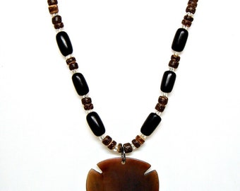 Polished Shell Necklace 4-5mm Coconut Shell and Buli Beads Approximately 18 21 or 24 Inches 7070S