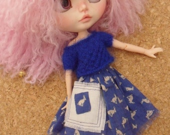 BLYTHE DOLL -- Made for Blythe -- A Blue Bunny Skirt and Mohair Silk Knitted top --