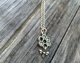 Bee and Honeycomb Necklace, Honeycomb Charm Necklace, Bee Necklace