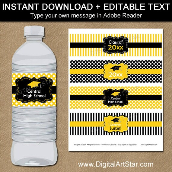 Class of 2018 Graduation Party Water Bottle Label Digital