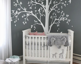 Large Tree Decal Huge White Tree Wall Decal Stickers Corner Wall Decals Wall  Art Tattoo Wall Mural Decor   086