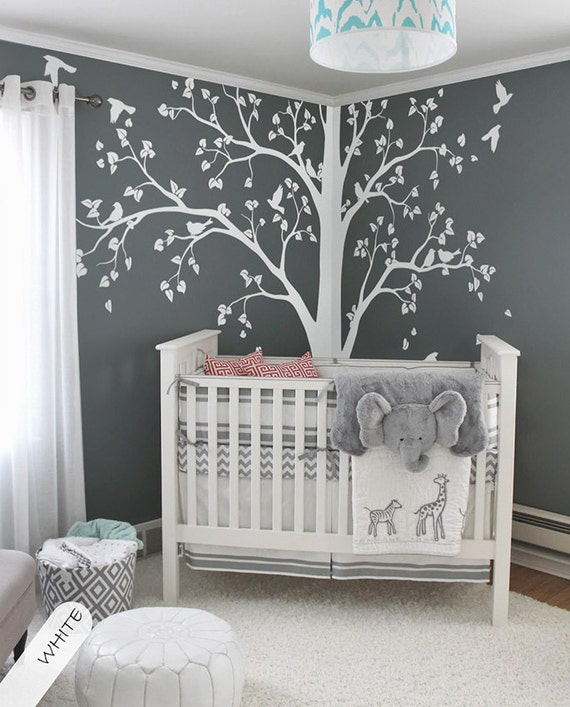 Charming Large Tree Decal Huge White Tree Wall Decal Stickers Corner