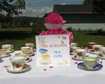 10 Mismatched Vintage Tea Cups and Saucers for Tea Party, Wedding, Baby Shower, Bridal Shower, Teacups and Saucers