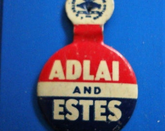 PRESIDENTIAL ELECTiON advertising PIN. 1956 election . Adlai Stevenson lost against Eisenhower ,   near new Condition see Description