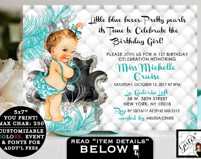 """Breakfast at FIRST BIRTHDAY invitation, baby & co. turquoise blue and silver white, princess diamonds pearls. 7x5"""" Gvites"""