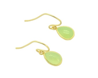Olivine green onyx gemstone gold teardrops earrings, 18k gold earrings, Gifts for mum, Valentines gifts for her, Christmas presents for her