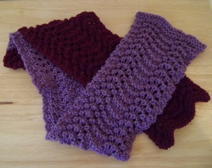 Scarf - Two-Colored Hand Knitted Scarf - Medium Large