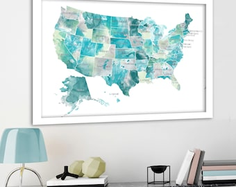 USA map with States, Aqua, Mint & Gray, State names on USA Map, Watercolour US Map, Push Pin Travels, Canvas usa Map, Pin on Map, usa states
