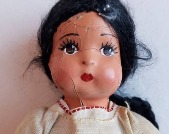 Vintage Black Haired Composition Doll