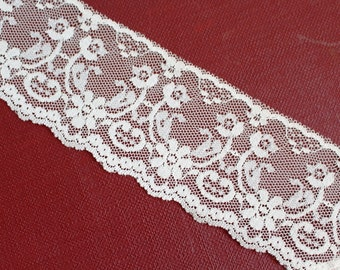 LACE BY YARD, Cut to the Yardage You Need. Ivory 2.5 Inch Wide Vintage Cream Off-White Trim Edging Fabric Quilting Sewing Crafts j10