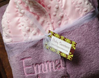 Baby Girl Shower Gift - Toddler Hooded Towel - Baby Hooded Towel -  Pink Purple Baby Towel - Personalized Baby Towel - New Baby Girl Gift