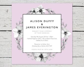 Printable Wedding Invitation, RSVP Card, Details Card, Evening Invitation, Lilac, Floral, PDF, Custom, Wedding Stationery Suite